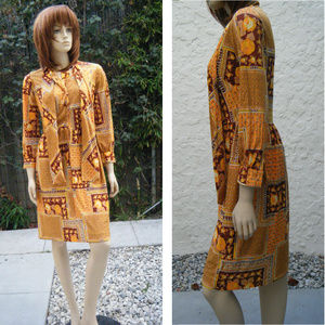 """70s Fall Colors Fabric Button Dress w NeckTies 31"""""""